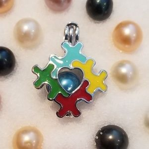 Jewelry - 925 sterling silver autism awareness cage necklace